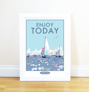 Enjoy Today Vintage Style Seaside Poster