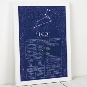 Leo Star Sign Art Print - best for birthdays