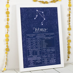Libra Star Sign Art Print - 21st birthday gifts
