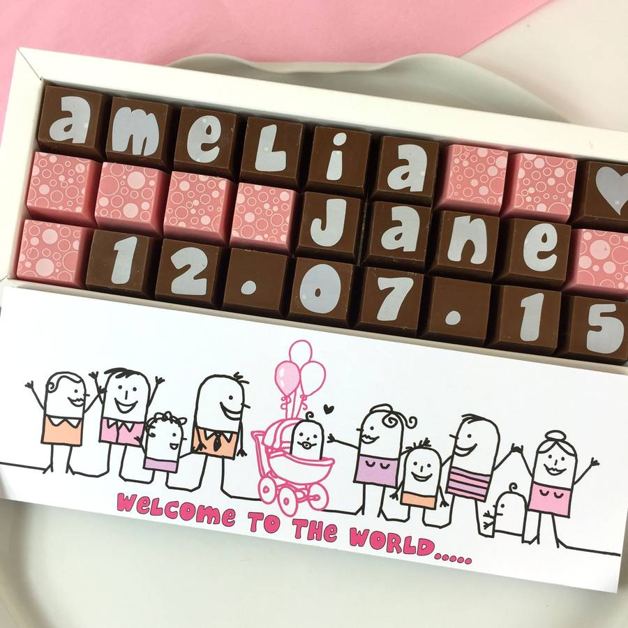 New Baby Personalised Picture Chocolates