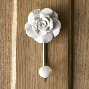 Flower Ceramic Hallway Bedroom Coat Hooks