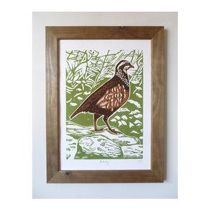 Partridge Linocut Poster Print - children's pictures & paintings
