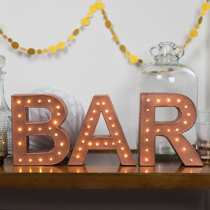Handmade 'Bar' Letter Light Sign - decorative letters