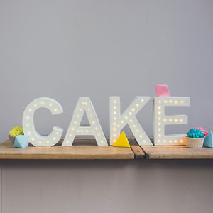 Handmade Light Up 'Cake' Letter Light Sign - room decorations