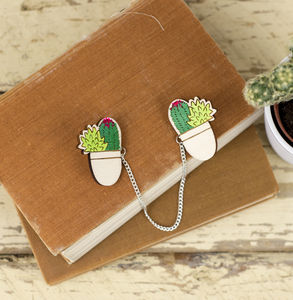 Cacti Collar Clips - pins & brooches