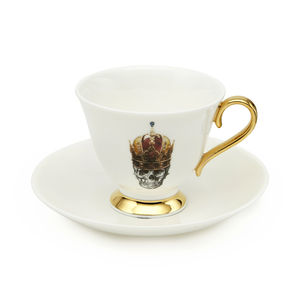 Skull In Red Crown Teacup And Saucer - kitchen