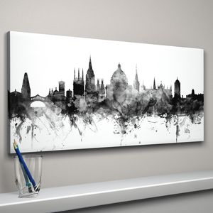 Oxford Skyline Cityscape Black And White - posters & prints