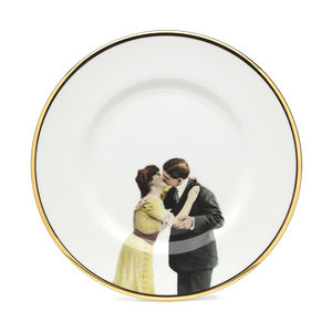 Kissing Couple Bone China Plate - dining in