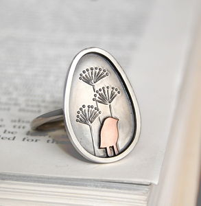 Copper Bird And Autumn Seeds Ring