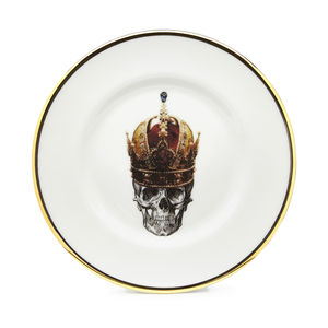 Skull In Crown Bone China Plate - tableware
