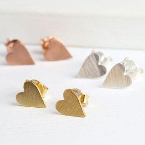 Little Brushed Heart Stud Earrings - earrings