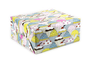 Cupcake Wrapping Paper Birthday Gift Wrap - ribbon & wrap