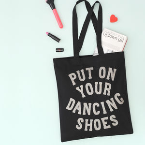 'Dancing Shoes' Glitter Tote Bag - womens