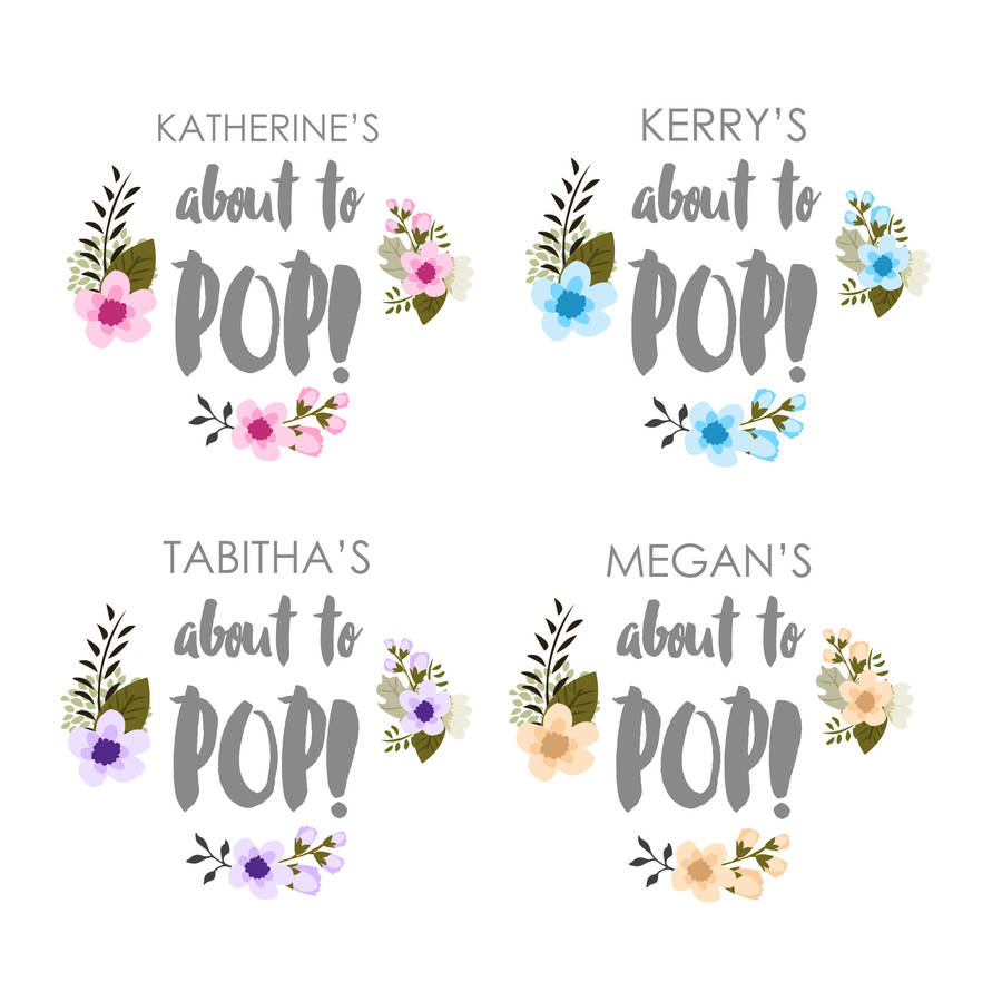 Personalised About To Pop Baby Shower Stickers By Peach Blossom