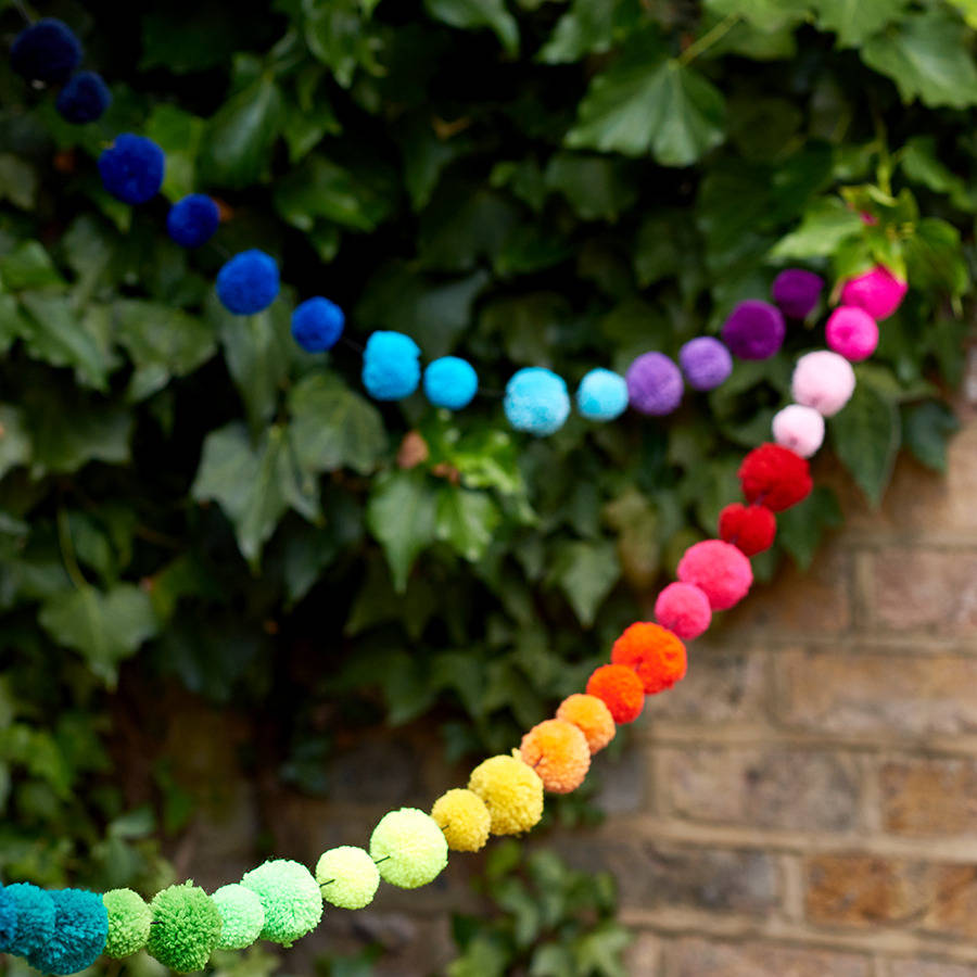 Multicoloured Pom Bunting Garland By Get It Rapt