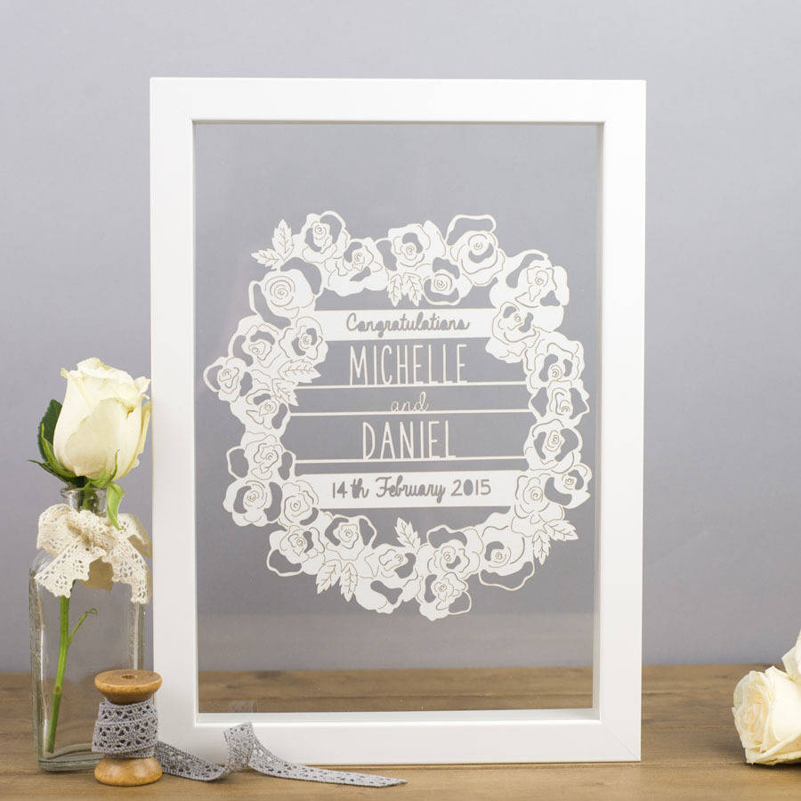 Personalised Wedding Gifts Online : Were sorry, Personalised Rose Wreath Papercut is no longer available