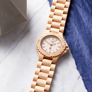 Date Beige Wooden Watch - gifts for him