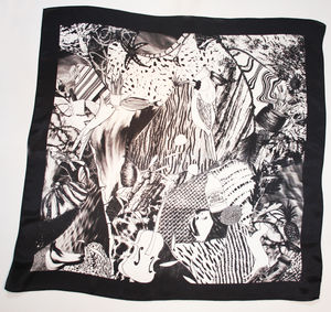 Hand Drawn Silk Satin Chiffon Monochrome Bird Scarf