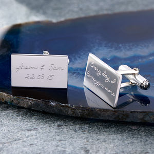 Personalised Engraved Message Silver Cufflinks - for him