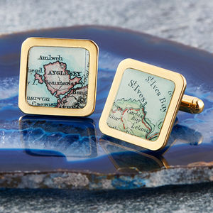 Map Personalised Location Cufflinks Square Gold - men's jewellery