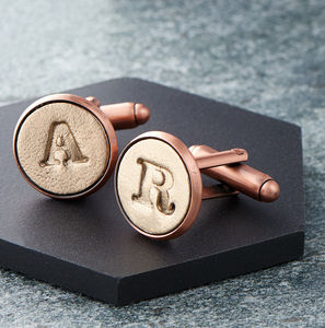 Bronze Letter Cufflinks - wedding fashion