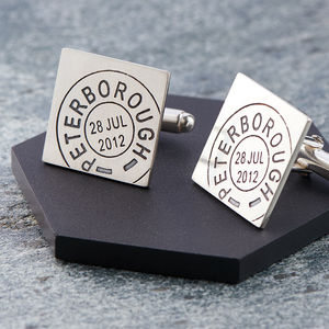Personalised Silver Square Postmarked Cufflinks - cufflinks
