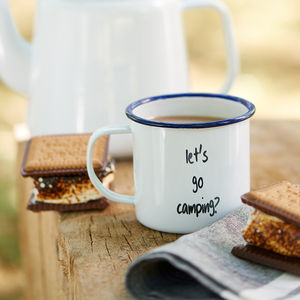 Enamel Personalised Message Mug - outdoor dining
