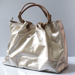 Metallic Leather Tote Bag - gifts for her