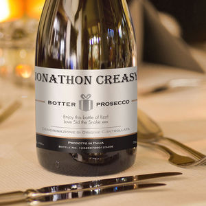 Contemporary Label Personalised Prosecco Bottle - champagne & prosecco