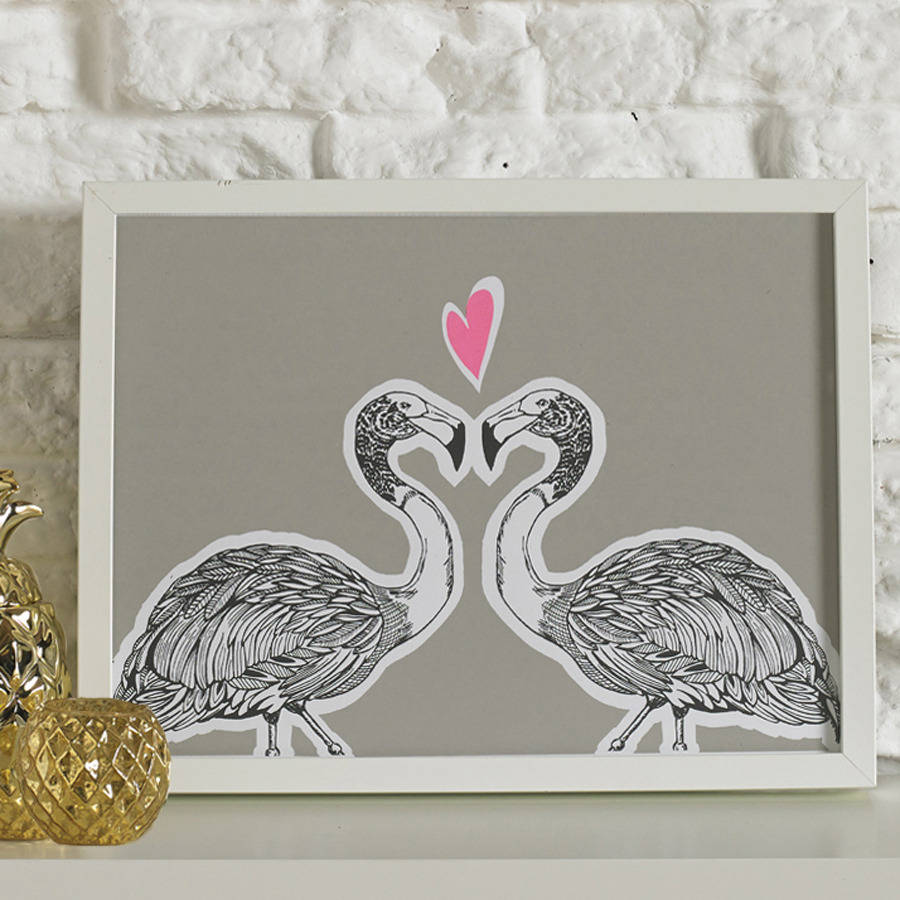 Flamingos In Love Screen Printed Wall Art