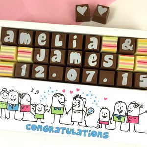 Wedding Box Of Personalised Chocolates