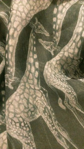 Hand Drawn Silk Chiffon Green Giraffe Scarf One Off - scarves