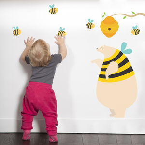 Honey Bear And Bees Fabric Wall Sticker - wall stickers