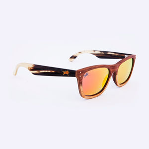 Magellan Two Tone Padauk Iridium Unisex Sunglasses - gifts for him