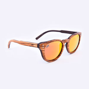 Waldeck Wooden Zebrawood Iridium Unisex Sunglasses - men's accessories