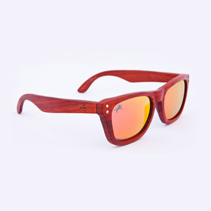 Cavendish Wooden Padauk Iridium Unisex Sunglasses - sunglasses