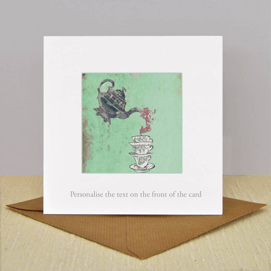 Personalised And Illustrated 'Time For Tea' Card