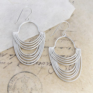Layered Sterling Silver Statement Drop Earrings