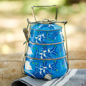 Enamel Hand Painted Tiffin Tin - picnics & barbecues