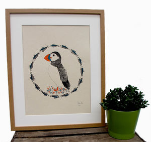 Art Print 'Puffin Around' A Three Colour Screen Print