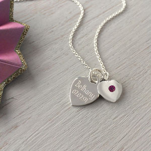 Birthstone Personalised Sterling Silver Heart Necklace - june birthstone