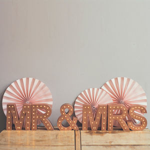 Handmade 'Mr And Mrs' Light Up Letters