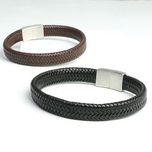 Men's Woven Leather Bracelet With Block Clasp