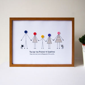 Personalised Family Button Print - living room