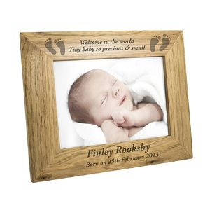 Personalised Baby Feet Wooden Frame - children's pictures & paintings