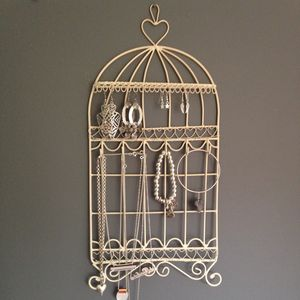 Birdcage Jewellery Holder And Hooks – Cream