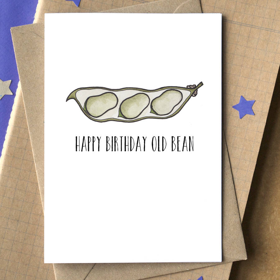 happy birthday old bean card by becka griffin illustration – Bean Birthday Card