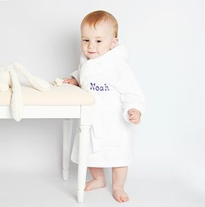 Personalised White Fleece Baby Robe - bathtime