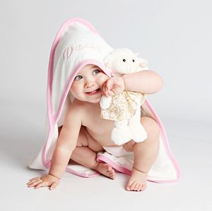 Personalised Hooded Baby Towel For Girls - bed, bath & table linen