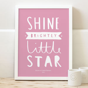 Shine Brightly New Baby Print - posters & prints